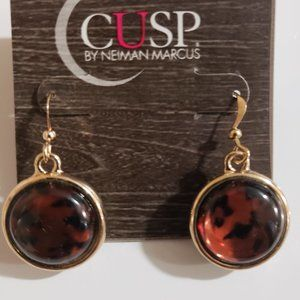 Cusp Neiman Marcus Round Gold Frame Drop Earrings